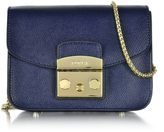 Furla Metropolis Mini Navy Blue Leather Crossbody Bag