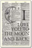 Vintage Dictionary Art Moon And Back
