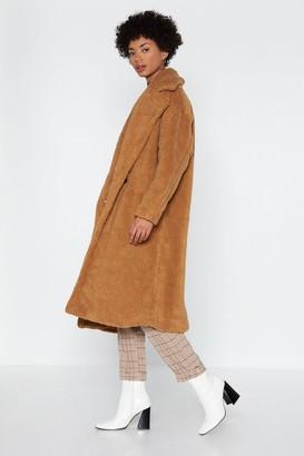 Nasty Gal Womens Warm Love Faux Fur Coat - beige - S