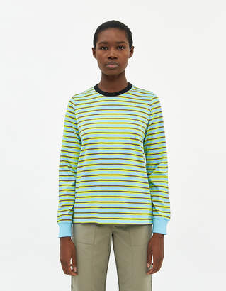 Stussy Women's Printed Stripe Long Sleeve T-Shirt in Blue, Size Extra Small   100% Cotton
