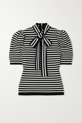 Michael Kors Pussy-bow Striped Cashmere-blend Top - Black