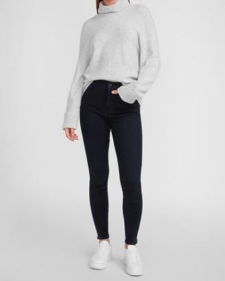 Express High Waisted Metallic Dark Wash Skinny Jeans