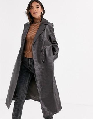 Asos Design DESIGN croc trench coat in dark brown