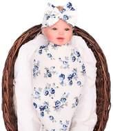 Glabloomer Newborn swaddle receiving blanket headband set flower receiving blankets galabloomer