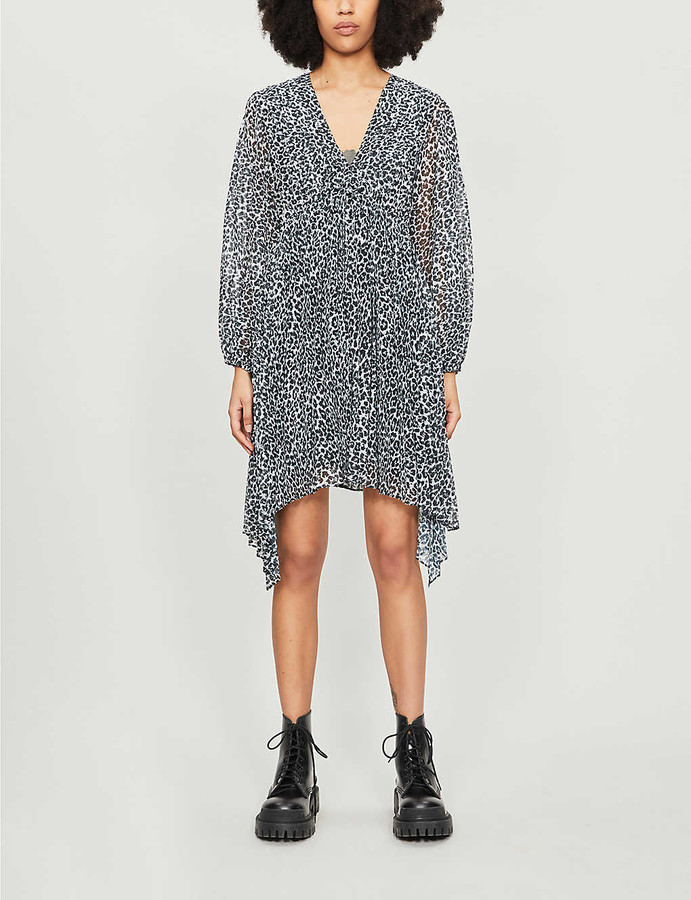 The Kooples Leopard-print V-neck crepe mini dress