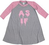 Urban Smalls Heather Gray & Pink 'As If' Raglan Dress - Toddler & Girls