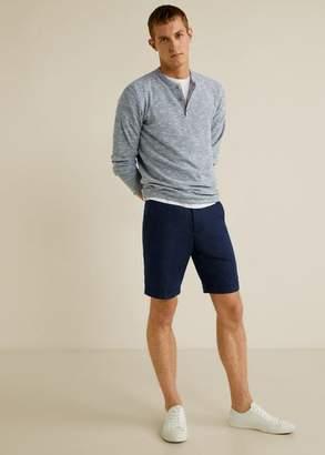 MANGO MAN - Flecked cotton linen-blend sweater beige - XS - Men