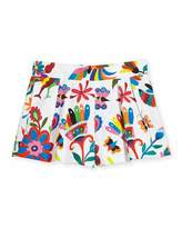 Milly Minis Pleated Canvas Folkloric Shorts, Multicolor, Size 8-16