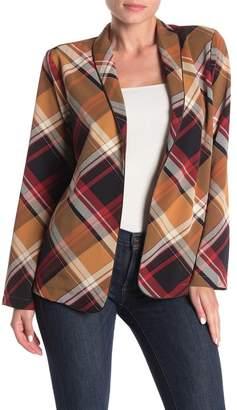 Bobeau Plaid Open Woven Blazer Jacket (Regular & Petite)