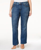 Melissa McCarthy Trendy Plus Size Decoy Wash Ripped Bootcut Jeans