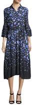 Lela Rose Floral-Print Tie-Waist Shirtdress