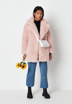 Missguided Pink Curly Borg Teddy Coat