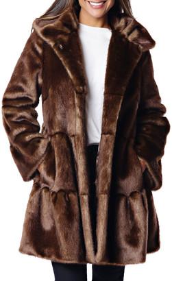 Fabulous Furs Faux Fur Tiered Swing Coat