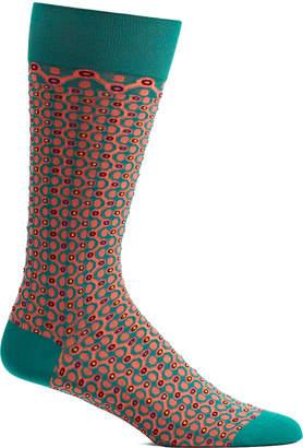 Ozone Men's Socks 15 - Green & Red Crescent Waves Socks - Men