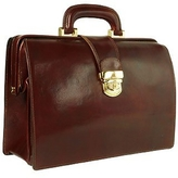 Forzieri Dark Brown Italian Leather Buckled Compact Doctor Bag