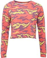 Reebok Womens Yoga Speedwick Camo Crew Neck Sweatshirt Laser Red