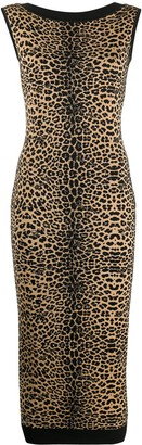 Philipp Plein Maribelle leopard-intarsia fitted dress