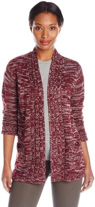 Jason Maxwell Women's Marled Hi-Lo Cardigan Sweater with Pockets