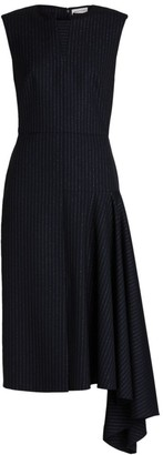 Alexander McQueen Side Drape Pinstripe Dress