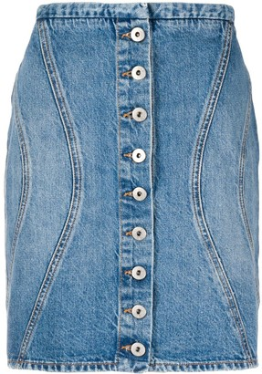 Marcelo Burlon County of Milan Buttoned Denim Skirt