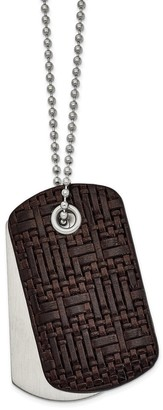 Chisel Stainless Steel Brushed Brown Woven Leather 22-inch Dog Tag Necklace