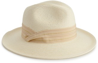 Lauren Conrad Women's Panama Hat with Twisted Striped Ribbon