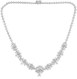 Zydo Unique 18k White Gold Floral Diamond Necklace