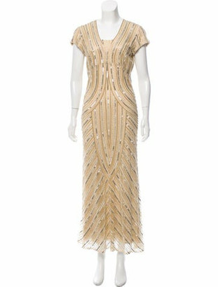 Naeem Khan Silk Embellished Gown Tan