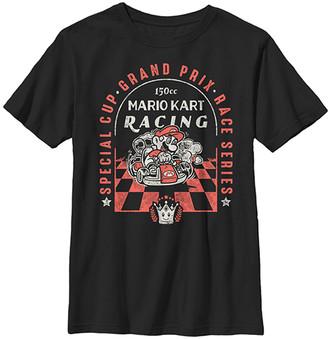 Fifth Sun Boys' Tee Shirts BLACK - Super Mario Black 'Mario Kart Racing' Checkered Pass Tee - Boys