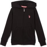 U.S. Polo Assn. Black & Neon Pink Zip-Up Hoodie - Girls
