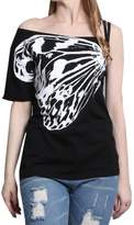 XWDA Butterfly T-shirt Women Cotton Plus Size Tops Short Sleeve Skew Collar Tee