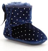 UGG Girls' Jesse Bow Starlight Velvet Glitter Dot Slip-On Crib Shoes