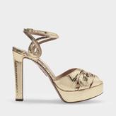 Aquazzura Gardena Plateau 120 Sandals In Gold Snake Printed Leather