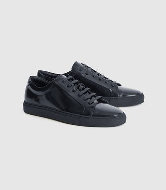 Reiss Luca - High Shine Leather Trainers in High-shine Navy