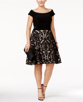 Xscape Evenings Plus Size Off-The-Shoulder Burnout Fit & Flare Dress