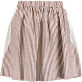 See by Chloe Embroidered muslin-paneled striped cotton mini skirt