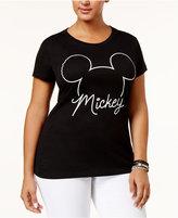 Hybrid Trendy Plus Size Cotton Mickey Graphic T-Shirt