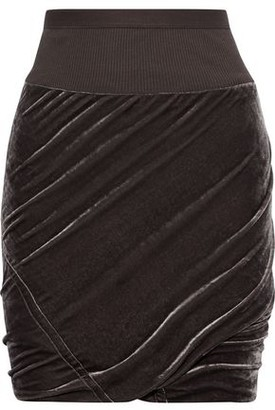 Rick Owens Ribbed Knit-trimmed Ruched Velvet Pencil Skirt