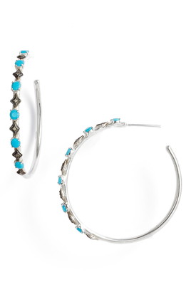 Armenta New World Diamond & Turquoise Doublet Hoop Earrings