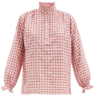 Belize - Sasha High-neck Gingham Cotton-blend Blouse - Pink Print