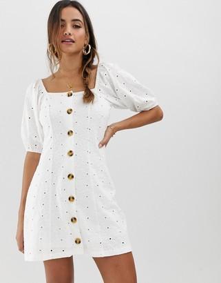 ASOS DESIGN button through broderie tea dress