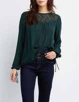 Charlotte Russe Crochet Yoke Lattice-Trim Blouse