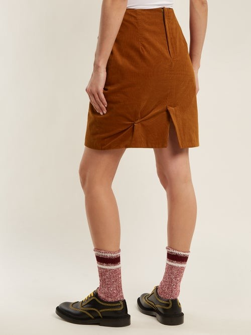 Thumbnail for your product : Charles Jeffrey Loverboy Twist-stitch Cotton-corduroy Mini Skirt - Brown