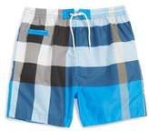 Burberry 'Saxon' Check Print Swim Trunks (Toddler Boys)