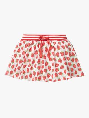 Boden Girls' Strawberry Print Jersey Skort, White/Pink