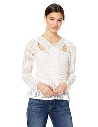 BCBGMAXAZRIA Women's Long Sleeve Striped Lace Bodysuit
