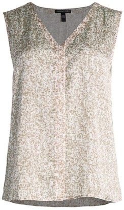 Eileen Fisher Print Silk & Cotton V-Neck Sleeveless Top
