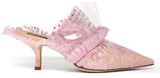 Midnight 00 Polka-dot Tulle & Pvc Kitten-heel Mules - Womens - Pink