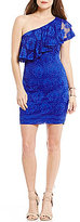 B. Darlin One-Shoulder Ruffle Lace Sheath Dress