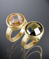 set of 2 - olive and champagne CZ dome rings